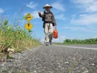 Thomas Köhler während zu Fuss durch Japan